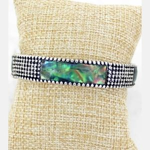Abalone Bar Silvertone Ball Textured Bracelet